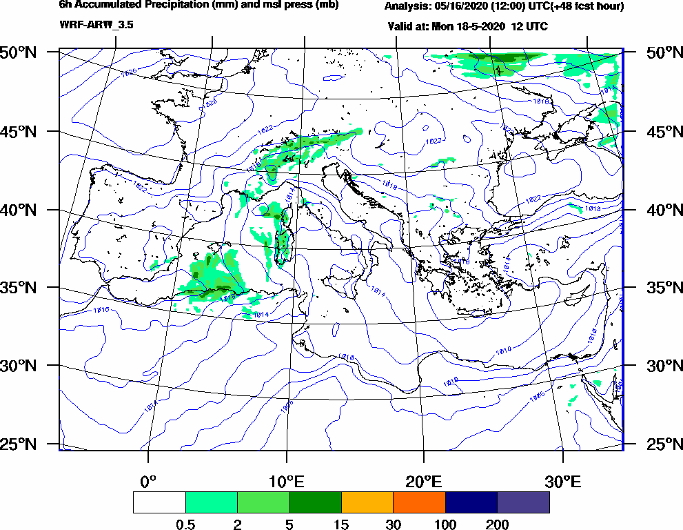 6h Accumulated Precipitation (mm) and msl press (mb) - 2020-05-18 06:00