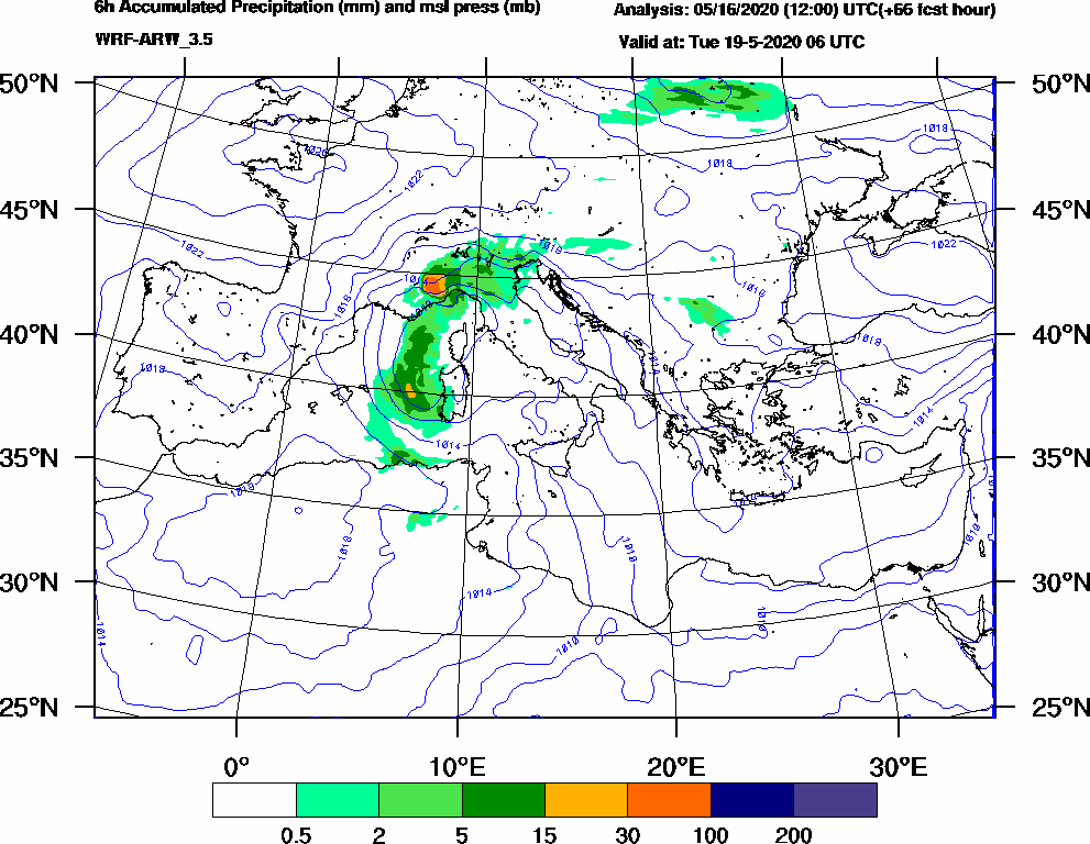 6h Accumulated Precipitation (mm) and msl press (mb) - 2020-05-19 00:00