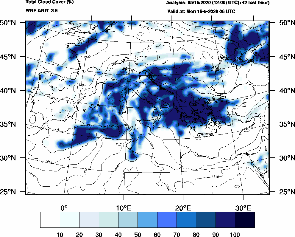 Total cloud cover (%) - 2020-05-18 00:00