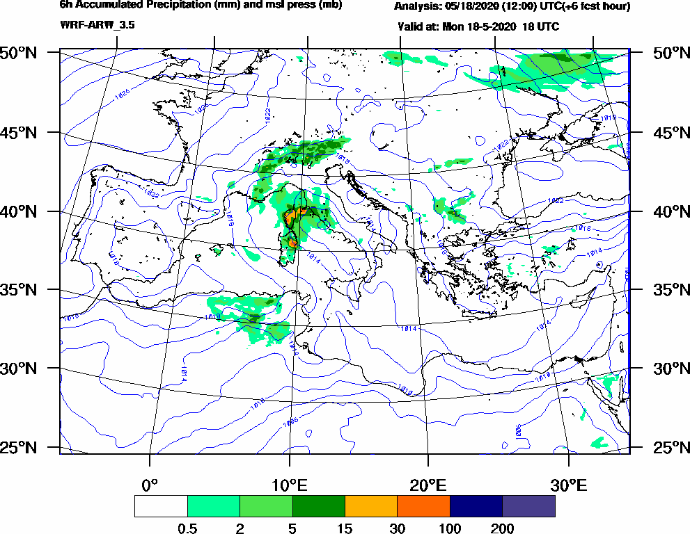 6h Accumulated Precipitation (mm) and msl press (mb) - 2020-05-18 12:00