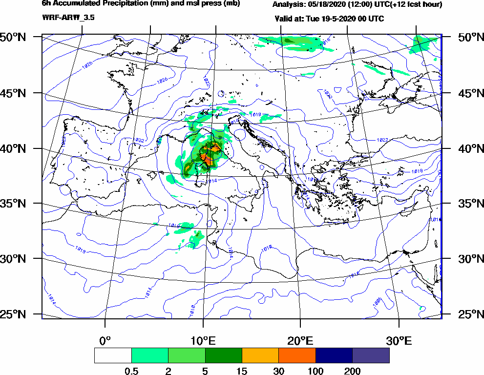 6h Accumulated Precipitation (mm) and msl press (mb) - 2020-05-18 18:00