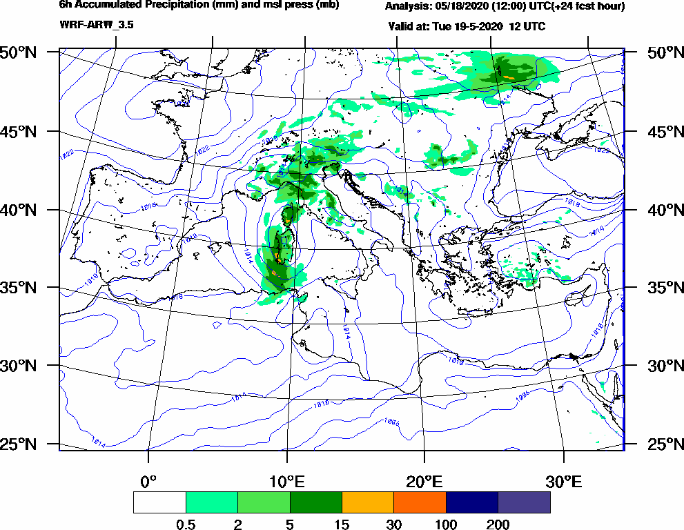6h Accumulated Precipitation (mm) and msl press (mb) - 2020-05-19 06:00