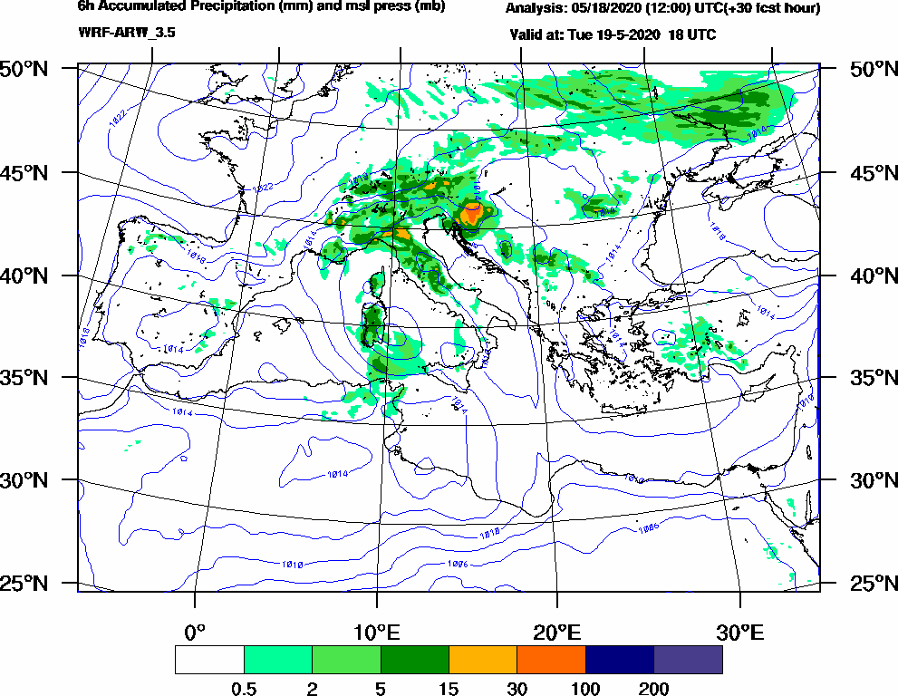 6h Accumulated Precipitation (mm) and msl press (mb) - 2020-05-19 12:00