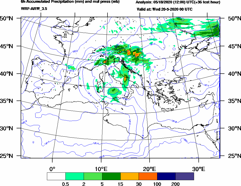 6h Accumulated Precipitation (mm) and msl press (mb) - 2020-05-19 18:00