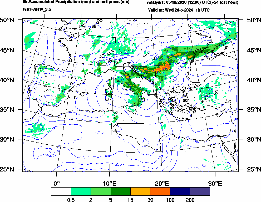 6h Accumulated Precipitation (mm) and msl press (mb) - 2020-05-20 12:00
