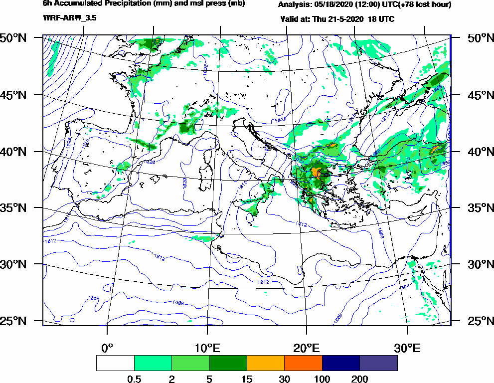 6h Accumulated Precipitation (mm) and msl press (mb) - 2020-05-21 12:00