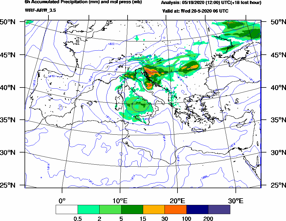 6h Accumulated Precipitation (mm) and msl press (mb) - 2020-05-20 00:00