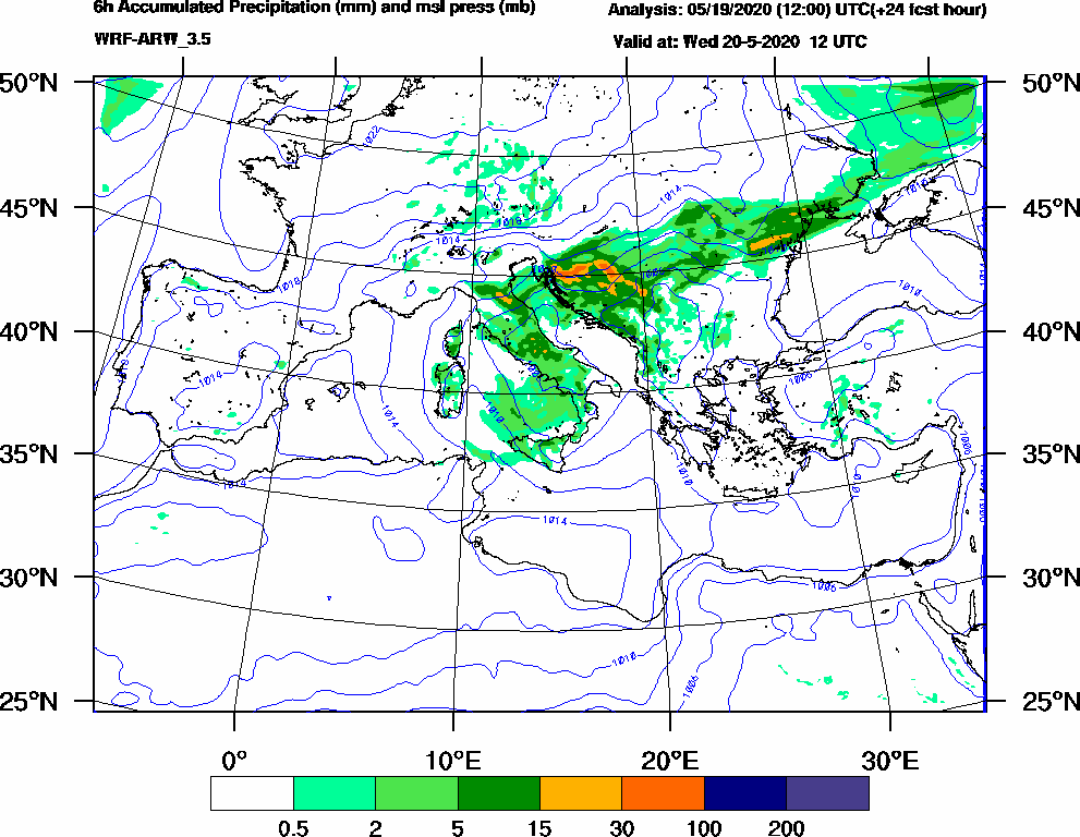 6h Accumulated Precipitation (mm) and msl press (mb) - 2020-05-20 06:00