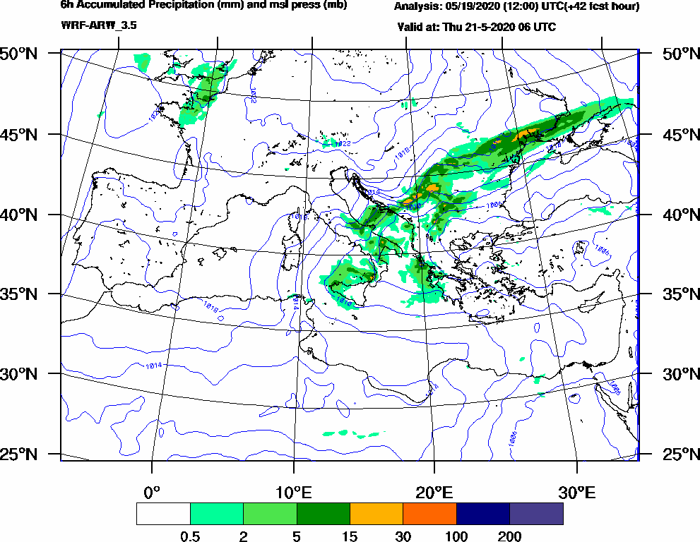 6h Accumulated Precipitation (mm) and msl press (mb) - 2020-05-21 00:00