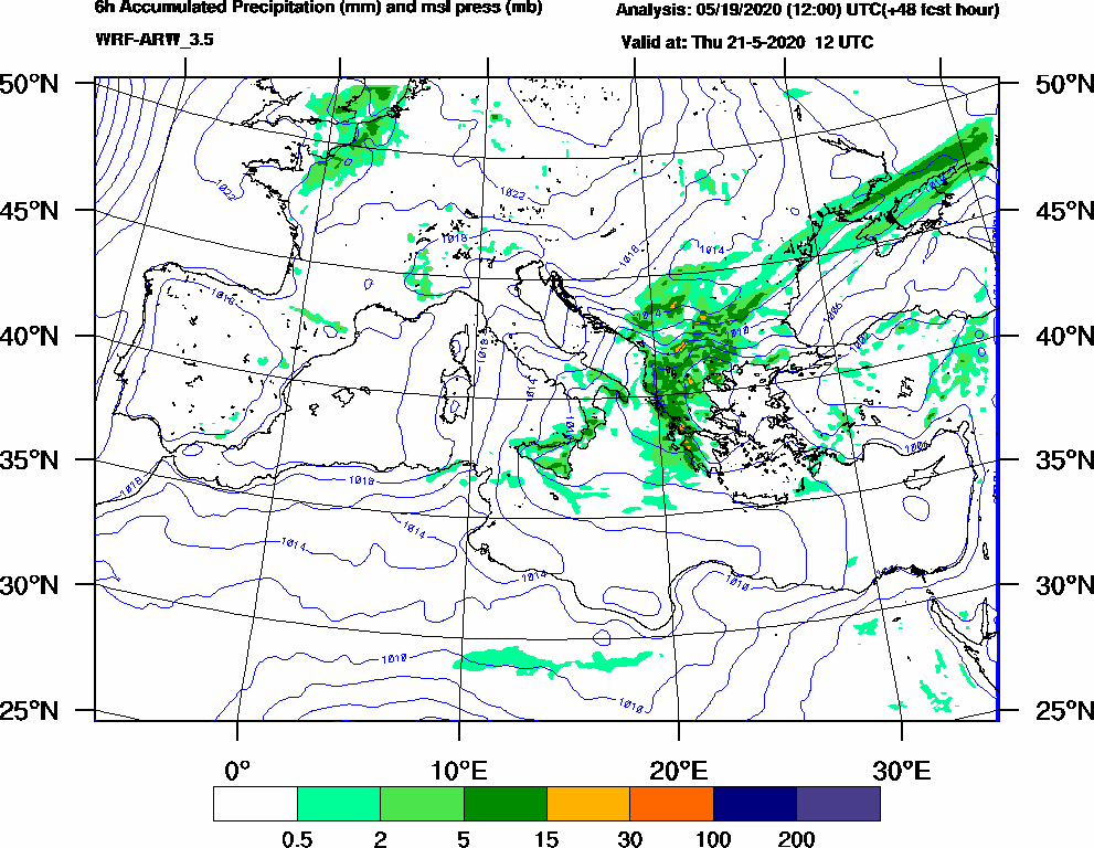 6h Accumulated Precipitation (mm) and msl press (mb) - 2020-05-21 06:00