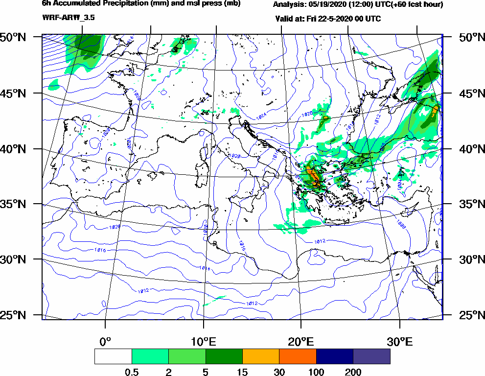 6h Accumulated Precipitation (mm) and msl press (mb) - 2020-05-21 18:00