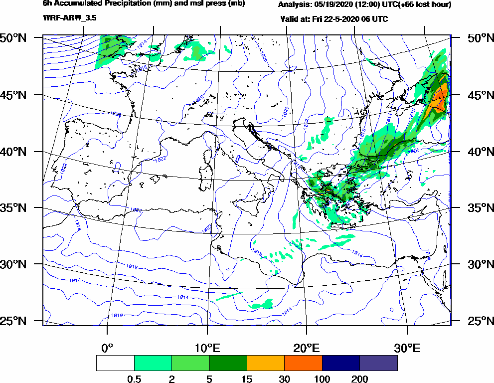 6h Accumulated Precipitation (mm) and msl press (mb) - 2020-05-22 00:00