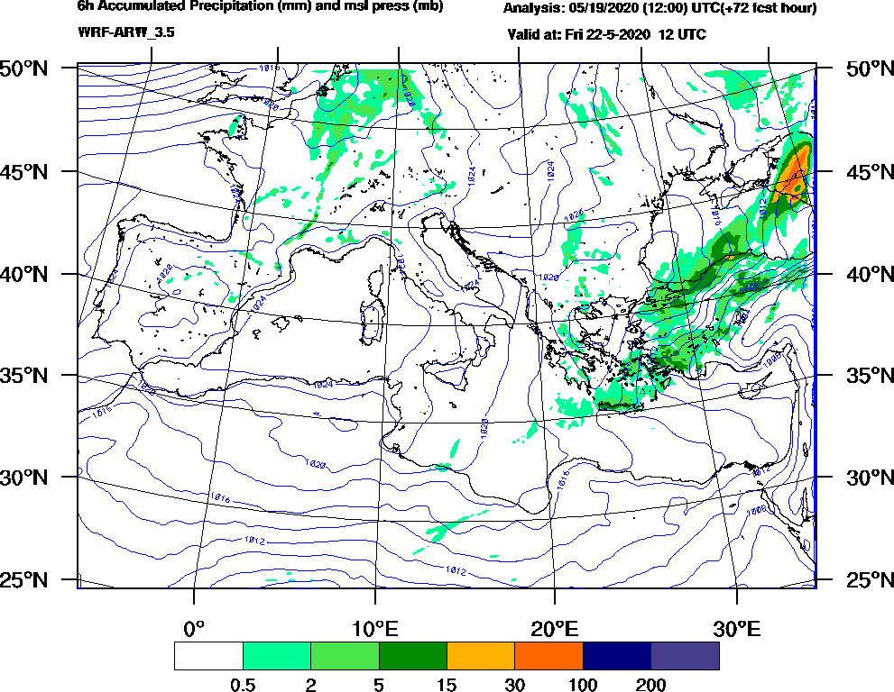 6h Accumulated Precipitation (mm) and msl press (mb) - 2020-05-22 06:00