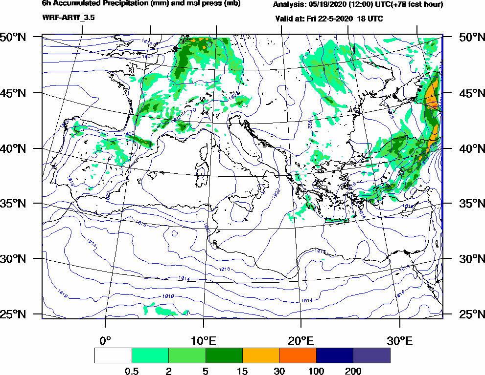 6h Accumulated Precipitation (mm) and msl press (mb) - 2020-05-22 12:00
