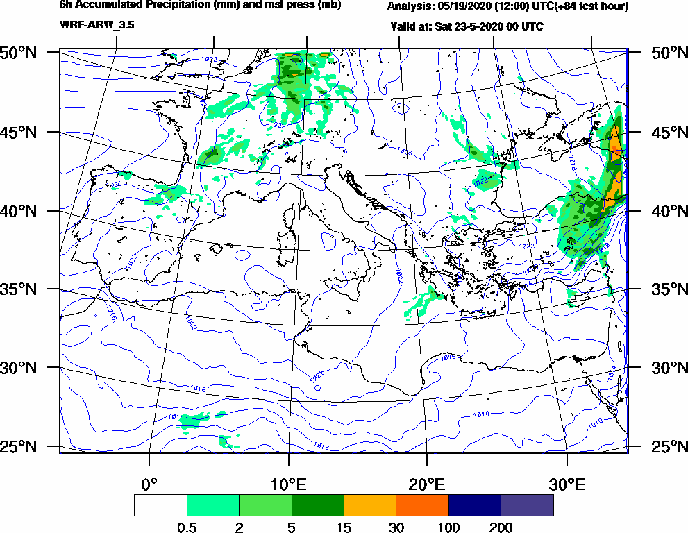 6h Accumulated Precipitation (mm) and msl press (mb) - 2020-05-22 18:00