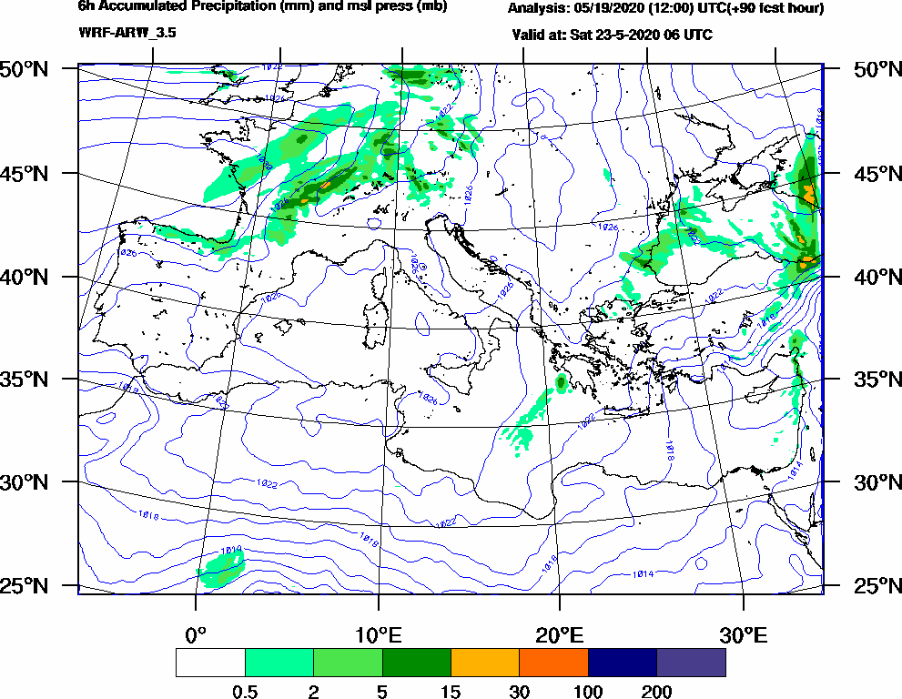 6h Accumulated Precipitation (mm) and msl press (mb) - 2020-05-23 00:00