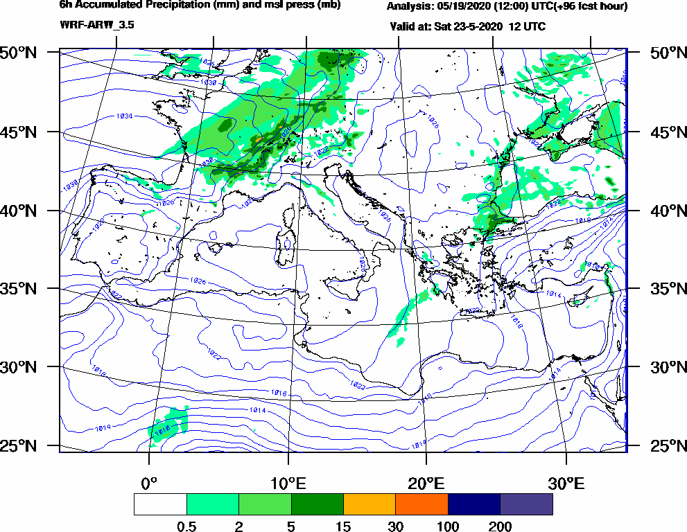 6h Accumulated Precipitation (mm) and msl press (mb) - 2020-05-23 06:00