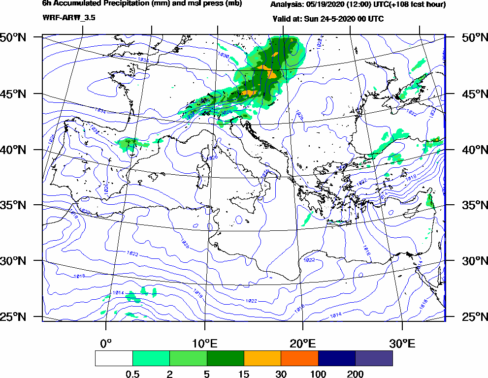 6h Accumulated Precipitation (mm) and msl press (mb) - 2020-05-23 18:00