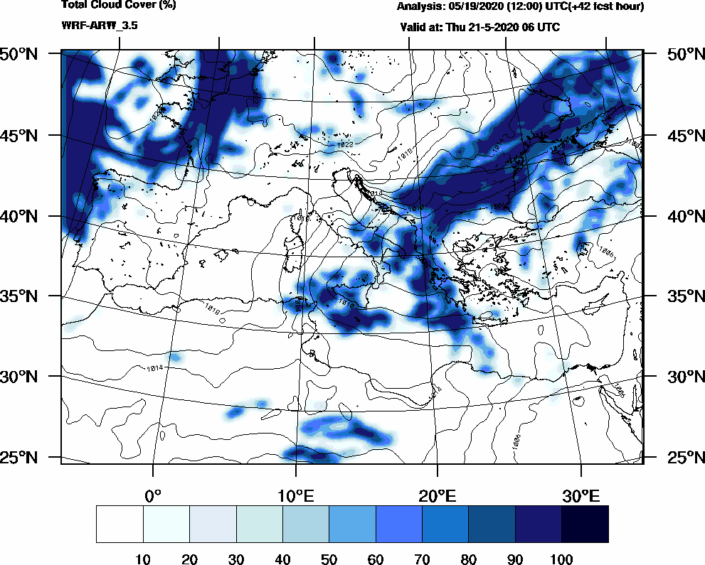 Total cloud cover (%) - 2020-05-21 00:00