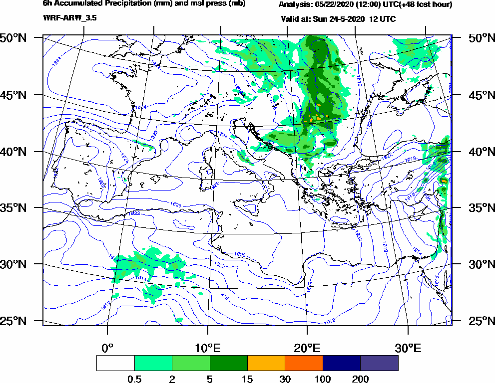 6h Accumulated Precipitation (mm) and msl press (mb) - 2020-05-24 06:00