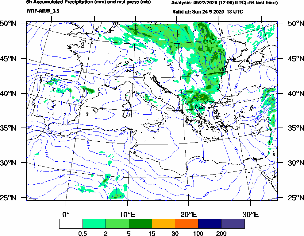 6h Accumulated Precipitation (mm) and msl press (mb) - 2020-05-24 12:00