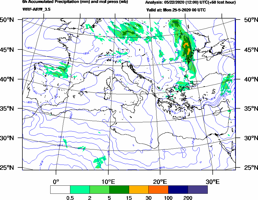 6h Accumulated Precipitation (mm) and msl press (mb) - 2020-05-24 18:00
