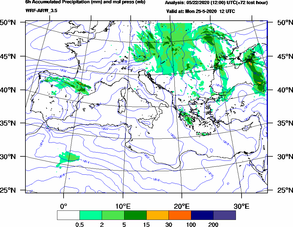 6h Accumulated Precipitation (mm) and msl press (mb) - 2020-05-25 06:00