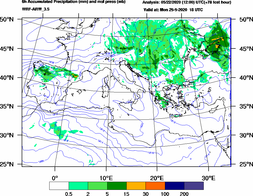 6h Accumulated Precipitation (mm) and msl press (mb) - 2020-05-25 12:00