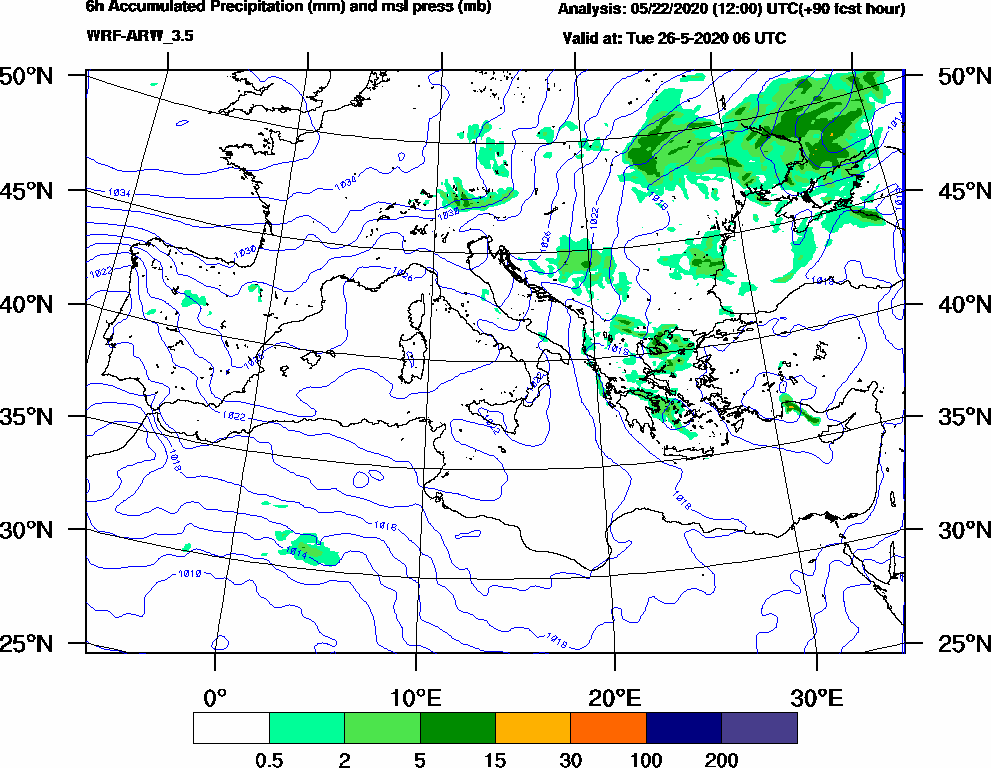 6h Accumulated Precipitation (mm) and msl press (mb) - 2020-05-26 00:00