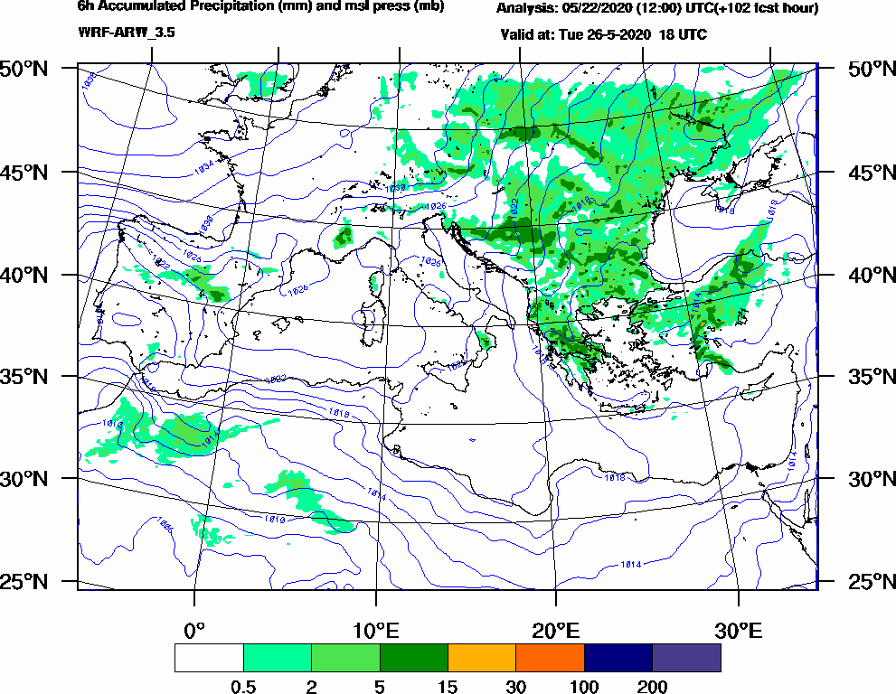 6h Accumulated Precipitation (mm) and msl press (mb) - 2020-05-26 12:00