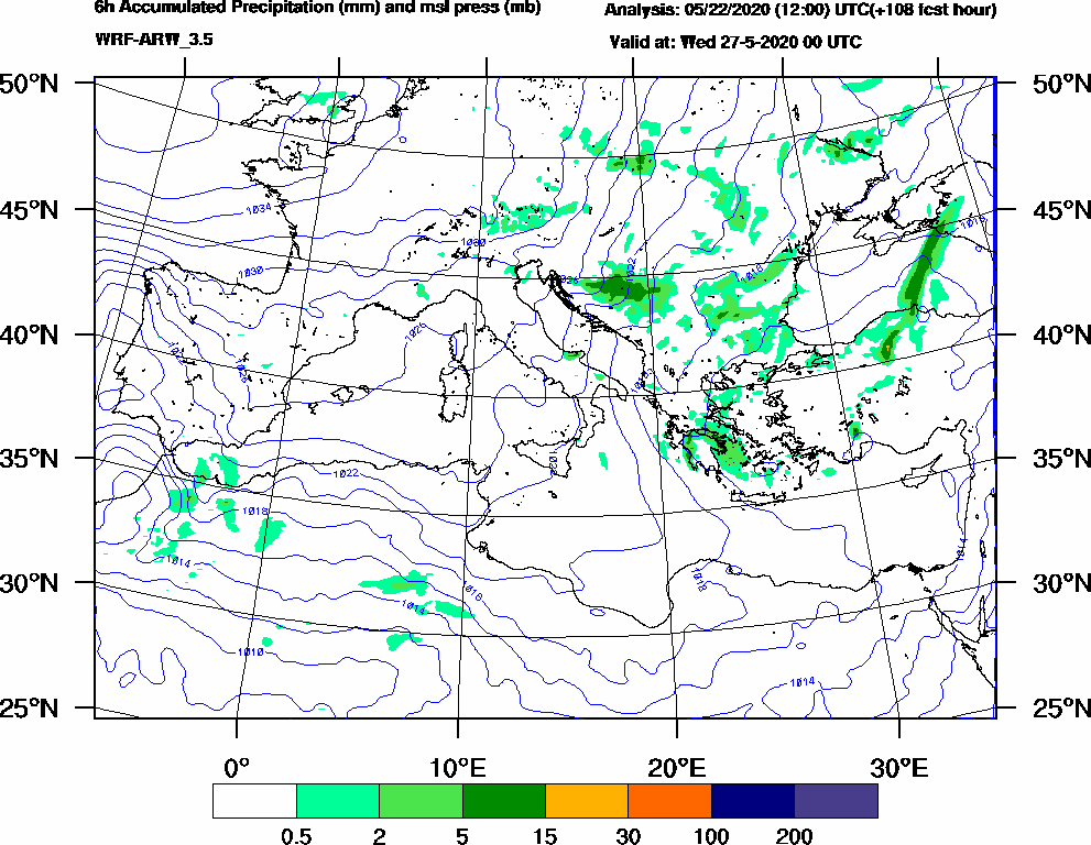 6h Accumulated Precipitation (mm) and msl press (mb) - 2020-05-26 18:00