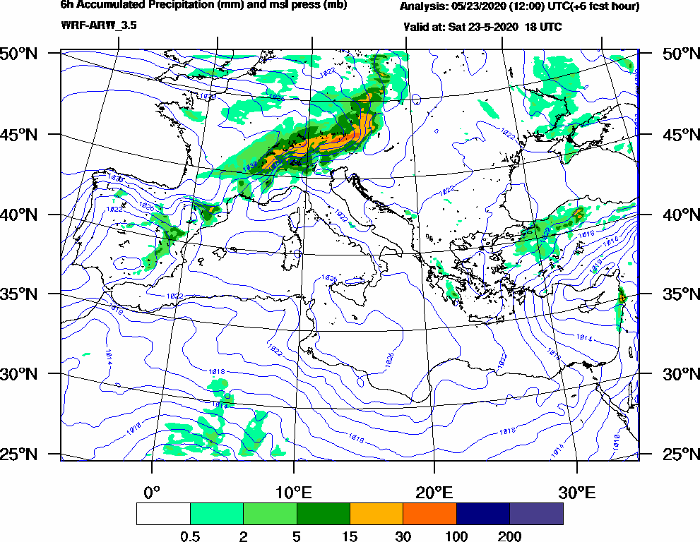 6h Accumulated Precipitation (mm) and msl press (mb) - 2020-05-23 12:00