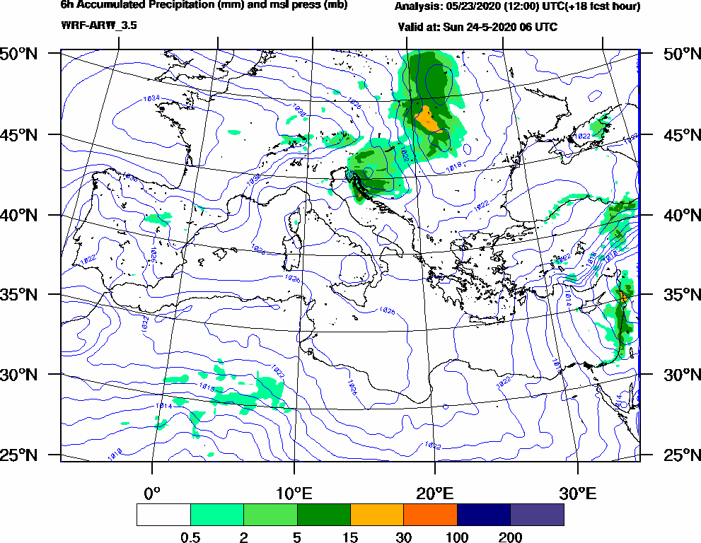 6h Accumulated Precipitation (mm) and msl press (mb) - 2020-05-24 00:00