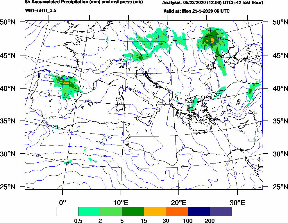 6h Accumulated Precipitation (mm) and msl press (mb) - 2020-05-25 00:00