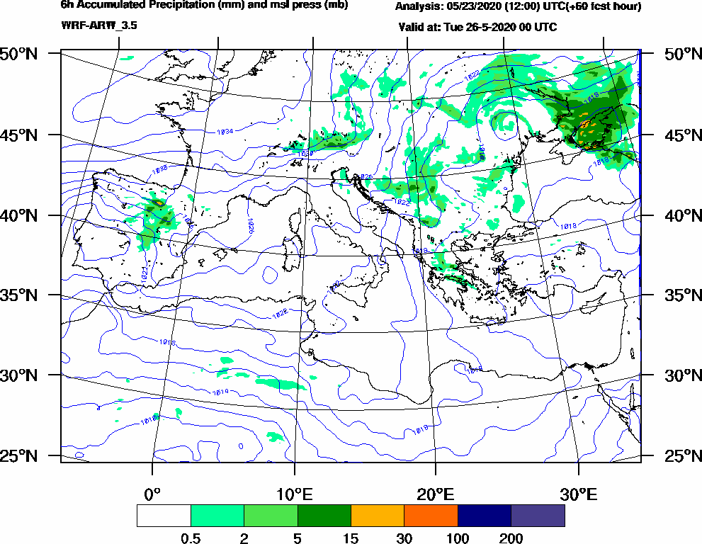 6h Accumulated Precipitation (mm) and msl press (mb) - 2020-05-25 18:00
