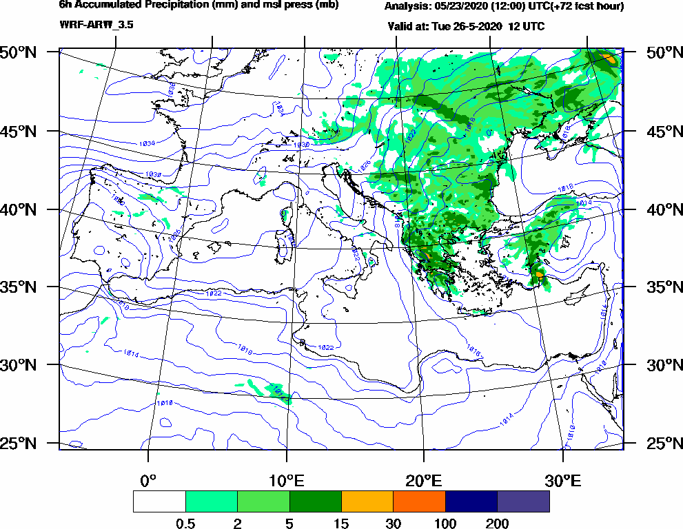 6h Accumulated Precipitation (mm) and msl press (mb) - 2020-05-26 06:00