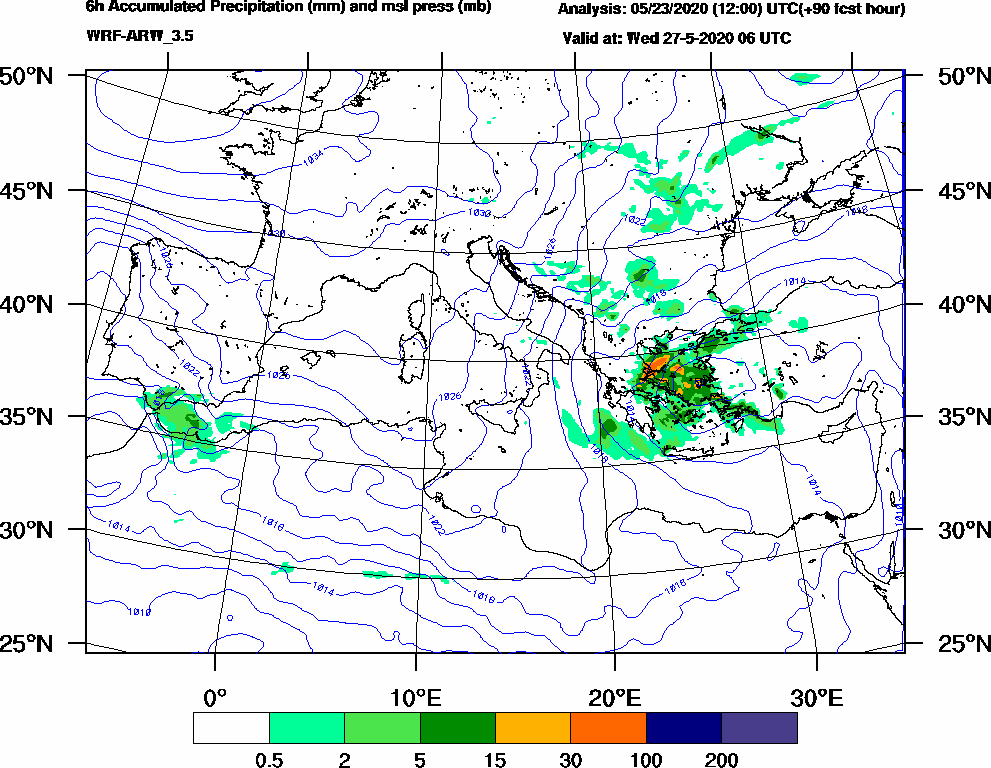 6h Accumulated Precipitation (mm) and msl press (mb) - 2020-05-27 00:00