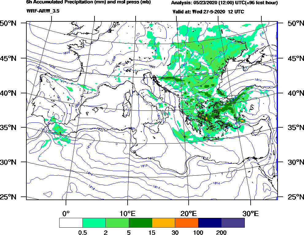 6h Accumulated Precipitation (mm) and msl press (mb) - 2020-05-27 06:00