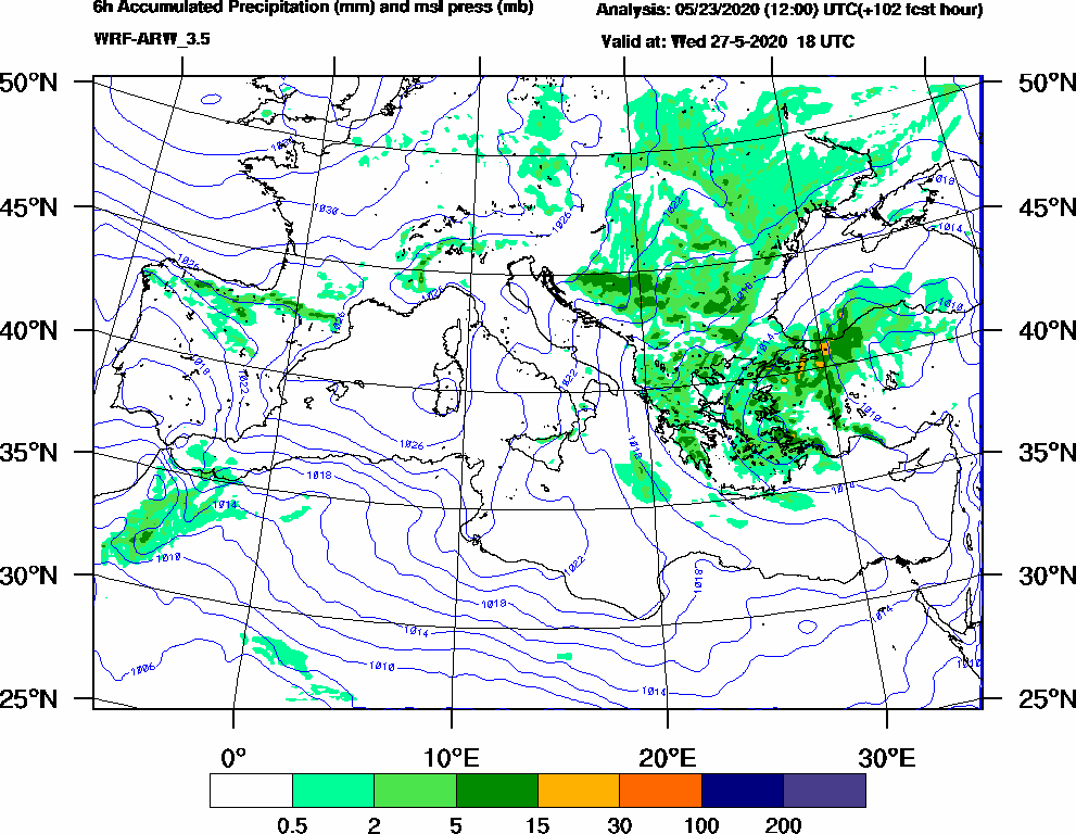 6h Accumulated Precipitation (mm) and msl press (mb) - 2020-05-27 12:00