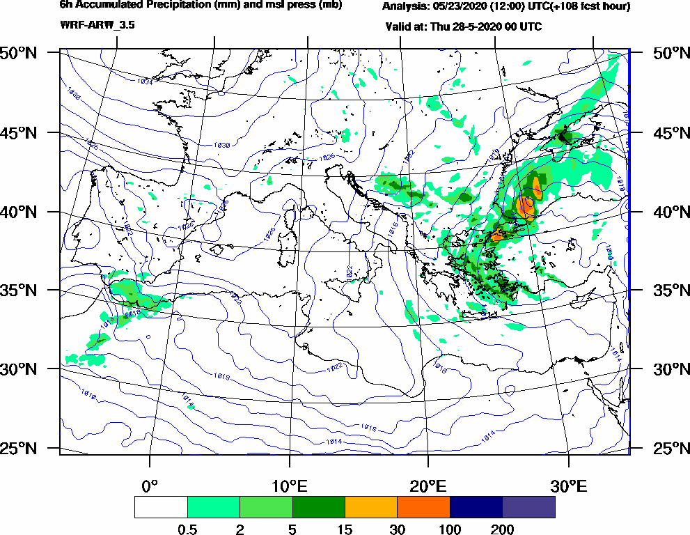 6h Accumulated Precipitation (mm) and msl press (mb) - 2020-05-27 18:00
