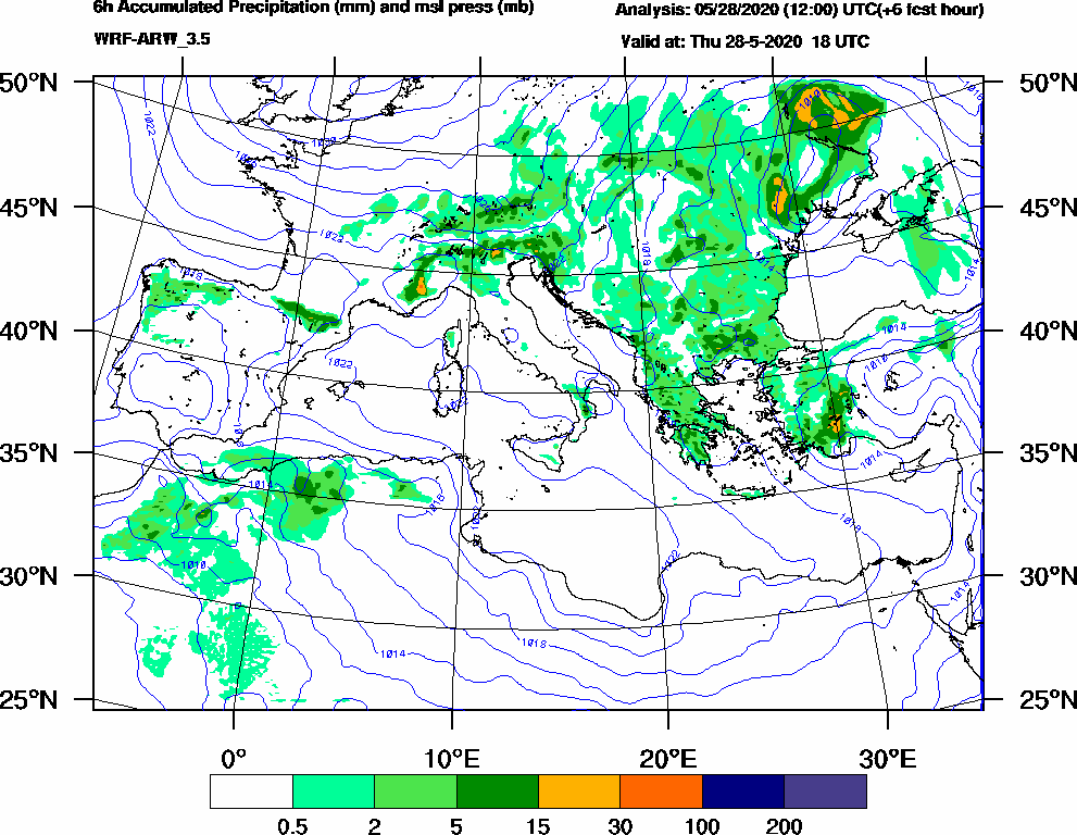 6h Accumulated Precipitation (mm) and msl press (mb) - 2020-05-28 12:00