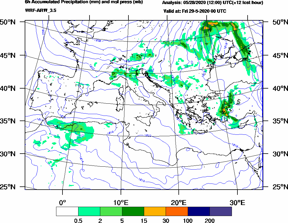 6h Accumulated Precipitation (mm) and msl press (mb) - 2020-05-28 18:00