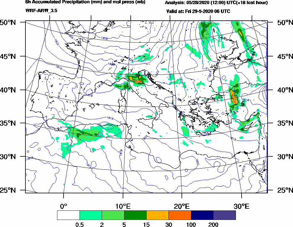 6h Accumulated Precipitation (mm) and msl press (mb) - 2020-05-29 00:00