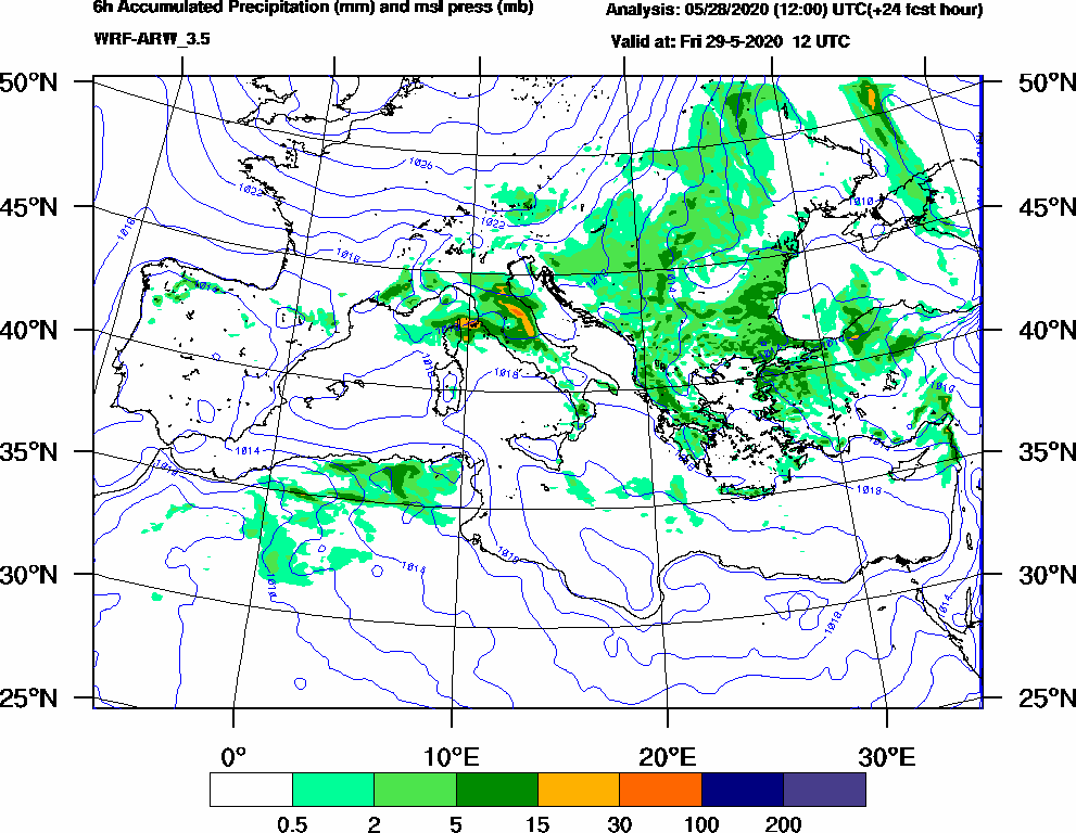 6h Accumulated Precipitation (mm) and msl press (mb) - 2020-05-29 06:00