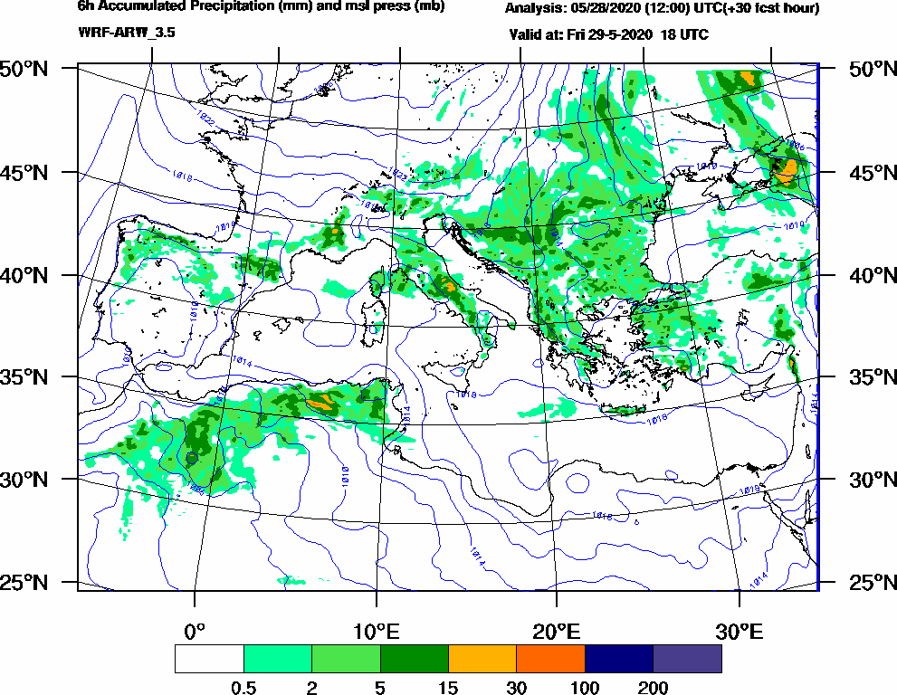 6h Accumulated Precipitation (mm) and msl press (mb) - 2020-05-29 12:00