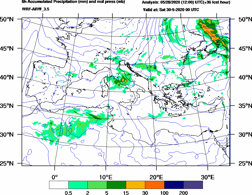 6h Accumulated Precipitation (mm) and msl press (mb) - 2020-05-29 18:00