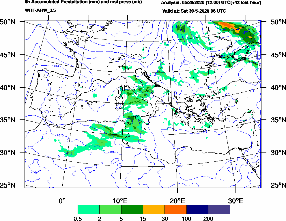 6h Accumulated Precipitation (mm) and msl press (mb) - 2020-05-30 00:00