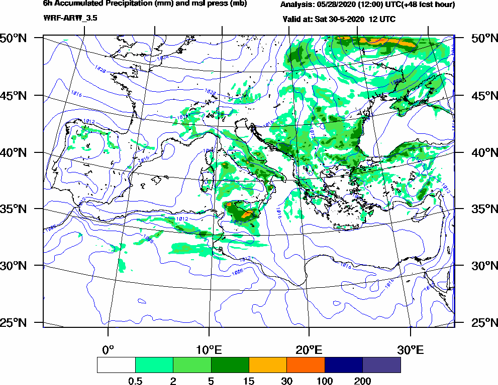 6h Accumulated Precipitation (mm) and msl press (mb) - 2020-05-30 06:00