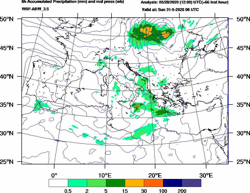 6h Accumulated Precipitation (mm) and msl press (mb) - 2020-05-31 00:00