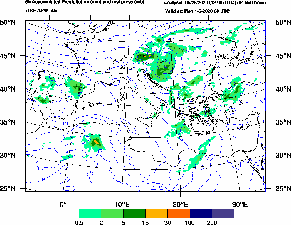 6h Accumulated Precipitation (mm) and msl press (mb) - 2020-05-31 18:00